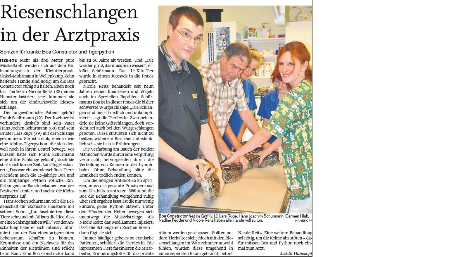 Artikel in der Norddeutsche Rundschau vom 25. Juli 2011